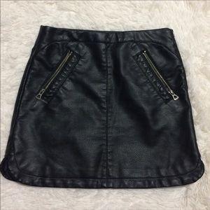silence + noise black faux leather skirt